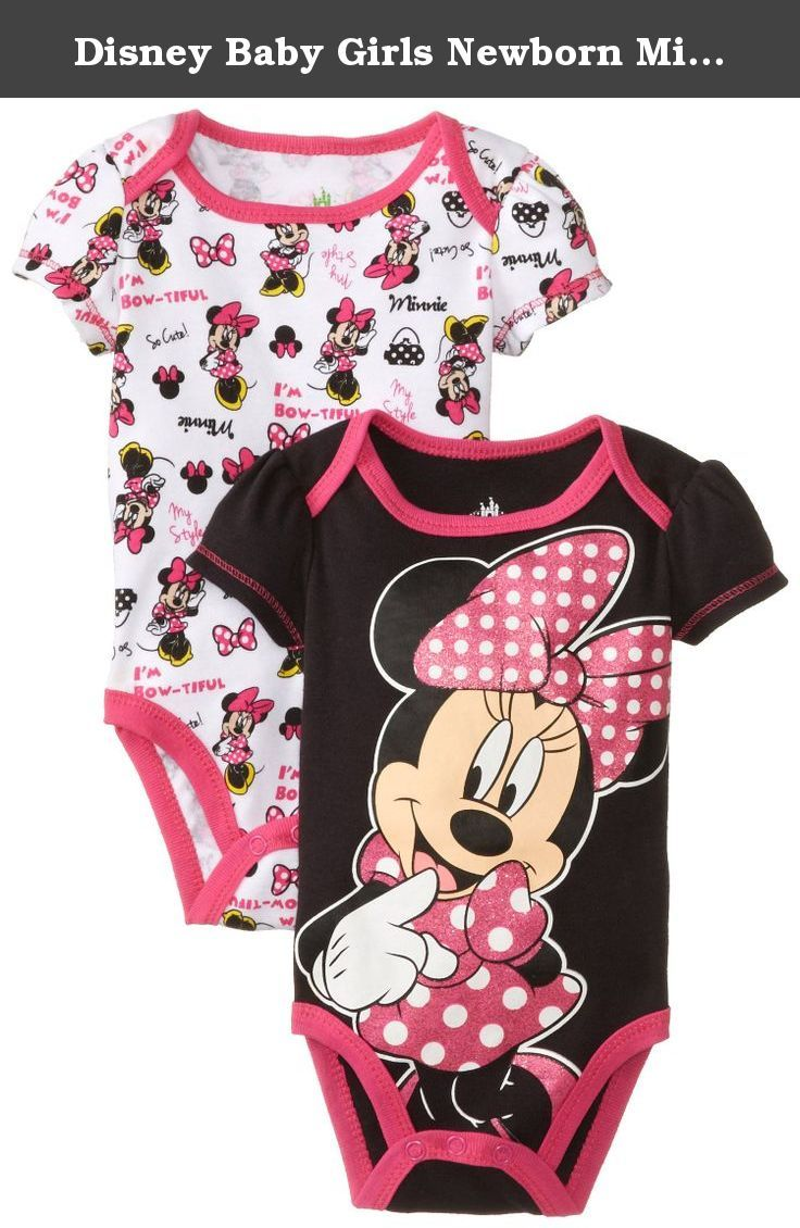 f70c035cb Disney Baby Girls Newborn Minnie Mouse 2 Pack Bodysuit, Black, 6-9 Months.  Amazing layette set for your little baby Perfect to wear around the house  or ...