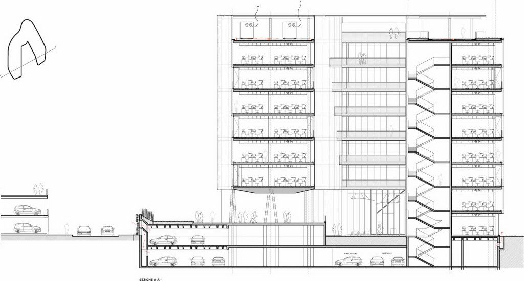 Building section drawing milanofiori nord office for Apartment structural plans