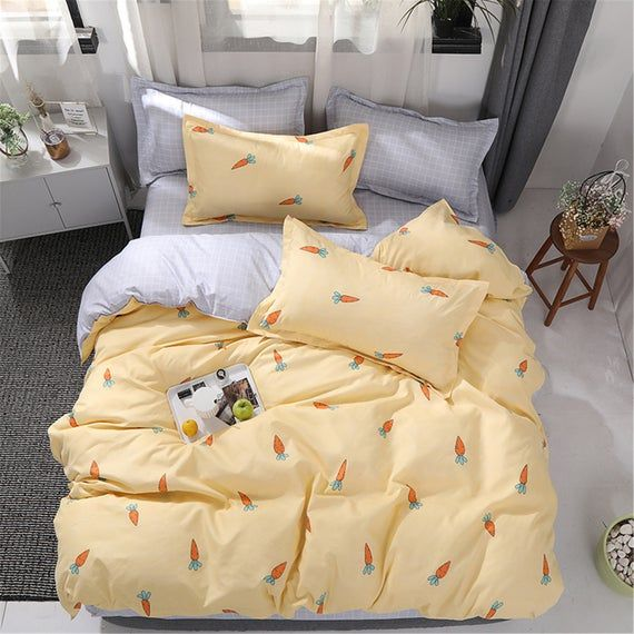 Duvet Cover Set Kid Bedding Cute Cartoon Carrot Bed Set Fashion Bed Set Soft High Quality Polyester Duvet Cover Set Room Decor Light Yellow In 2021 Duvet Cover Sets Bed Linen