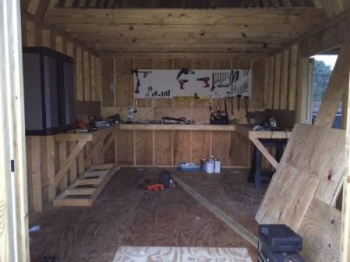 This Neat Workshop Shed Is Built From My 12x16 Barn With Porch Plans Lots Of Space To Work On Your Woodworking Pro In 2020 Building A Shed Wood Shed Plans Shed Plans