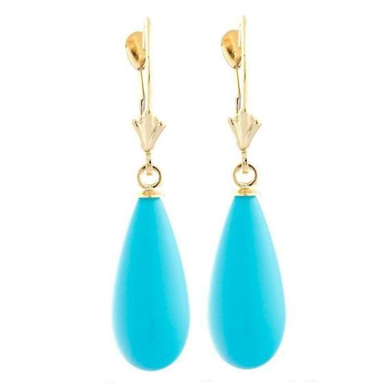 18mm Sleeping Beauty Turquoise Lever Back Earrings, 14-20 Gold Filled Earrings, Blue Turquoise Teard