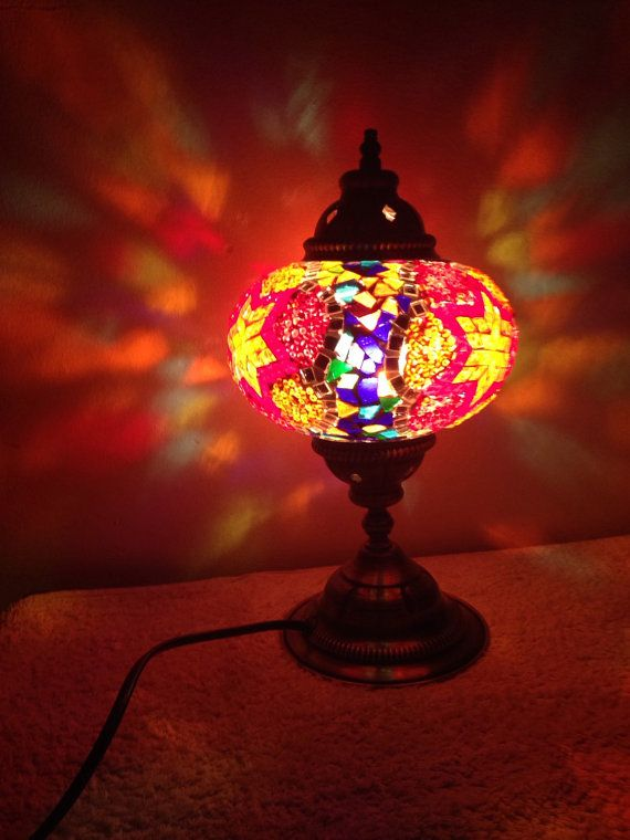 Traditional Turkish hand crafted mosaic lamp