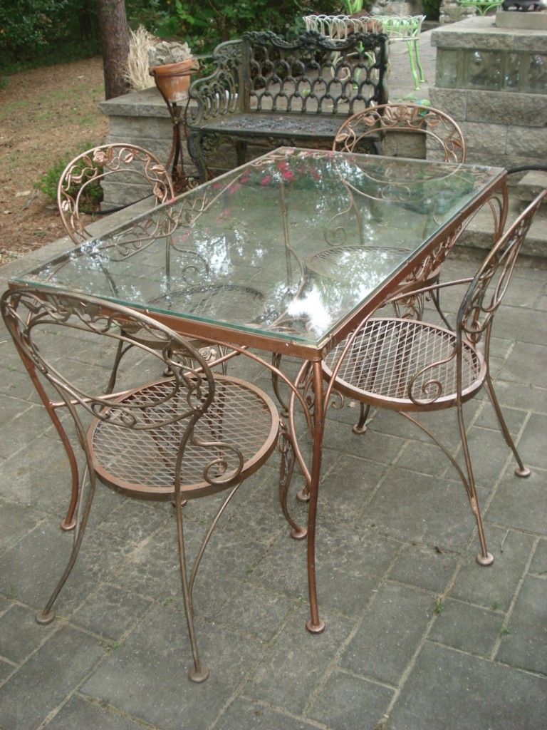 Good Fabulous Chantily Rose Woodard Patio Vintage Mid Cent. Iron FurnitureBench  ...