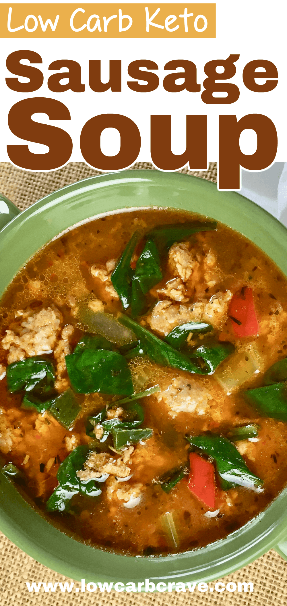 Keto Sausage Soup With Peppers & Spinach #porksausages