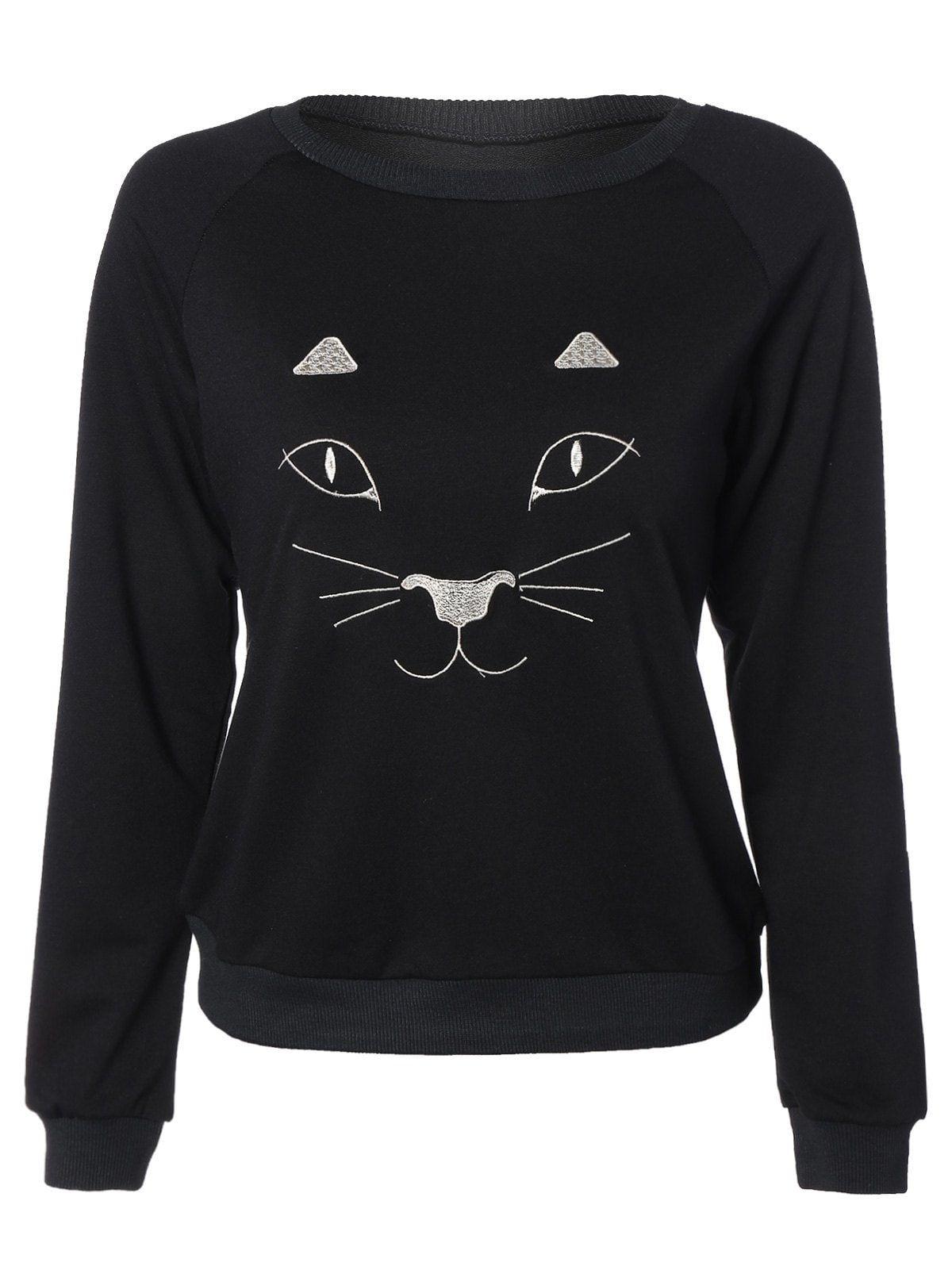 Black And White Cat Sweatshirt