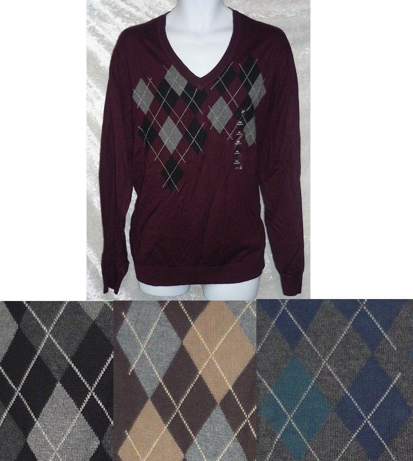 Pict j ferrar modern fit 1 - Jf J Ferrar Sweater Argyle Modern Fit V Neck Cotton Man S Size M