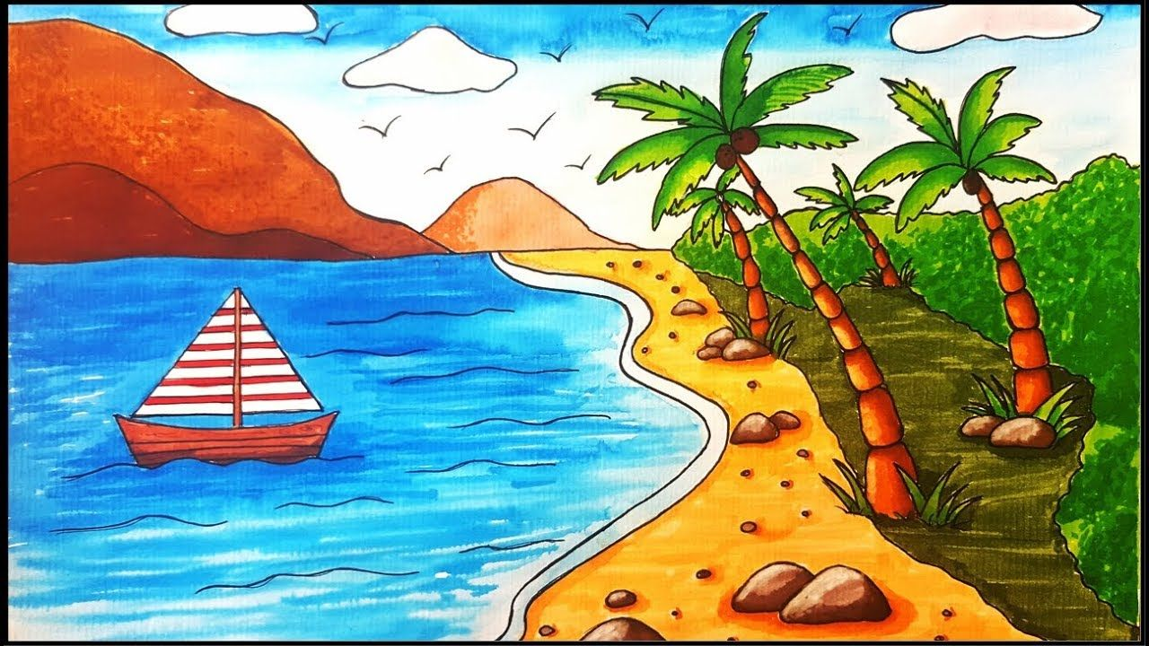 How to draw a beach scenehow to color a beach sceneeasy beach drawing coloringdrawing a beach for beginnershow to draw a coconut treehow to draw a