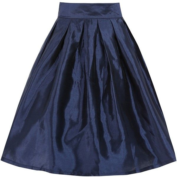 'Marnie' Navy Circle Skirt ($50) ❤ liked on Polyvore featuring skirts, navy, blue skirt, skater skirt, navy skater skirt, pleated skirt et flared midi skirt