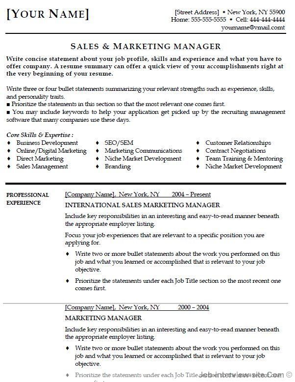 marketing objective resumes