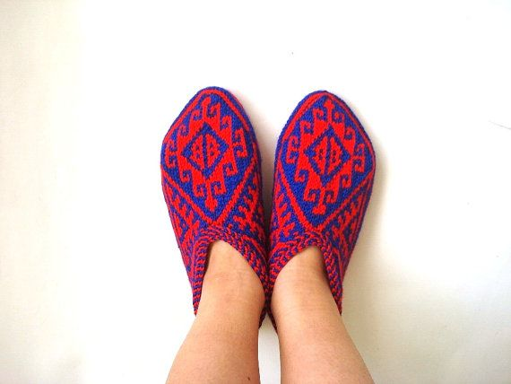 Cobalt blue and Red Turkish traditional Hand by AnatoliaDreams