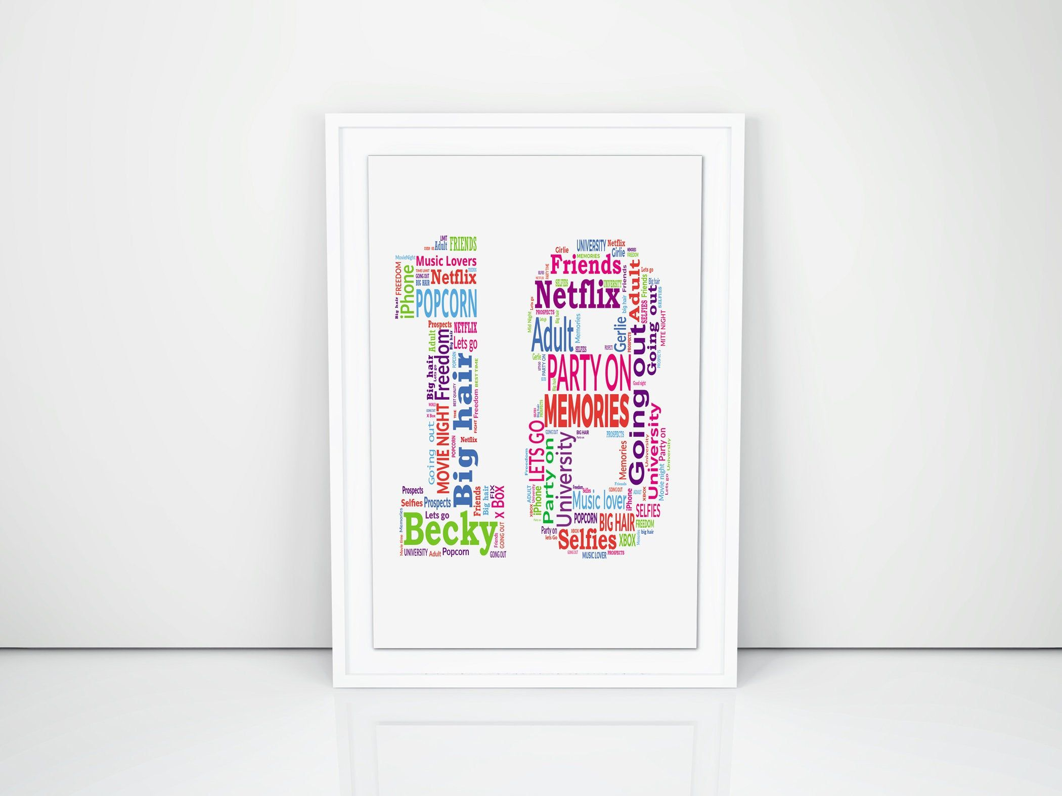 Personalised 18th Print Custom Word Wall Art Frame Birthday Keepsake Gifts For Him Her Girl Boy Friend Daughter Son In 2020 18th Birthday Gifts Dad Birthday Word Wall Art