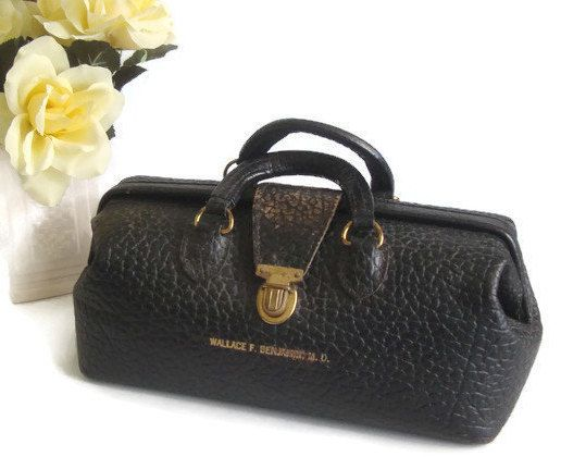 Leather Doctor Bag Vintage Medical Black Satchel Monogrammed By Ramblinranch On