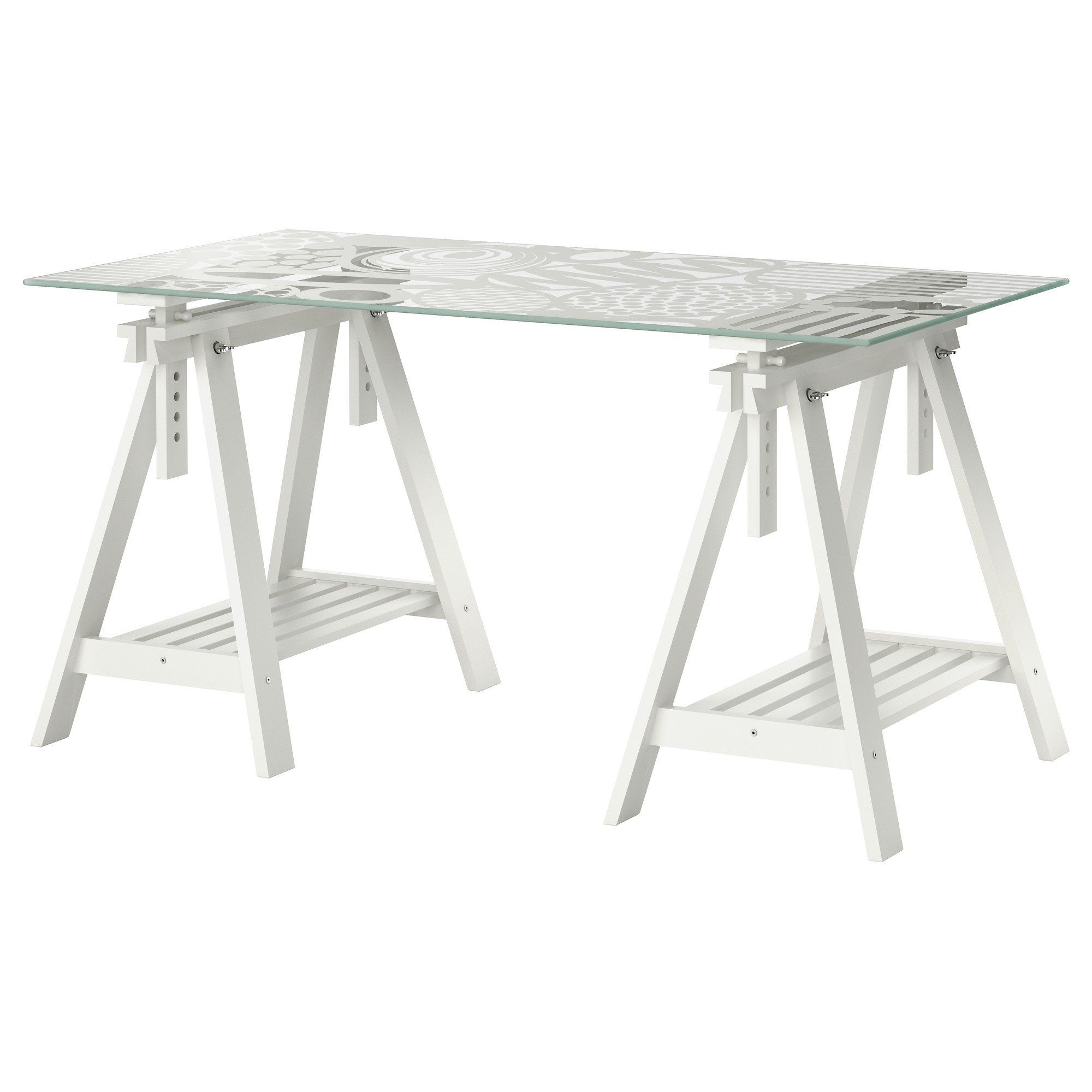Grey Glass Ikea Table Tops With White Wooden Bar Legs And Striped .