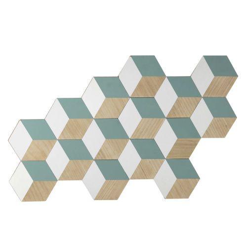 Déco murale en bois bleue/blanche 67 x 115 ...