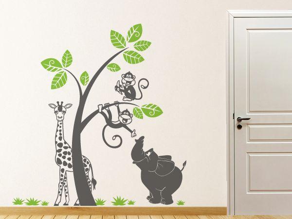 Affen, Giraffe, Elefant mit Baum und Gras zur individuellen ...