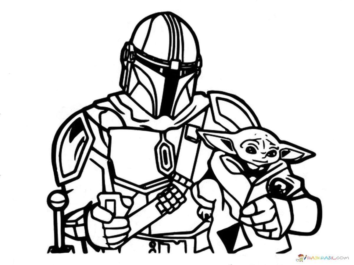 Coloring Pages Baby Yoda. The Mandalorian and Baby Yoda