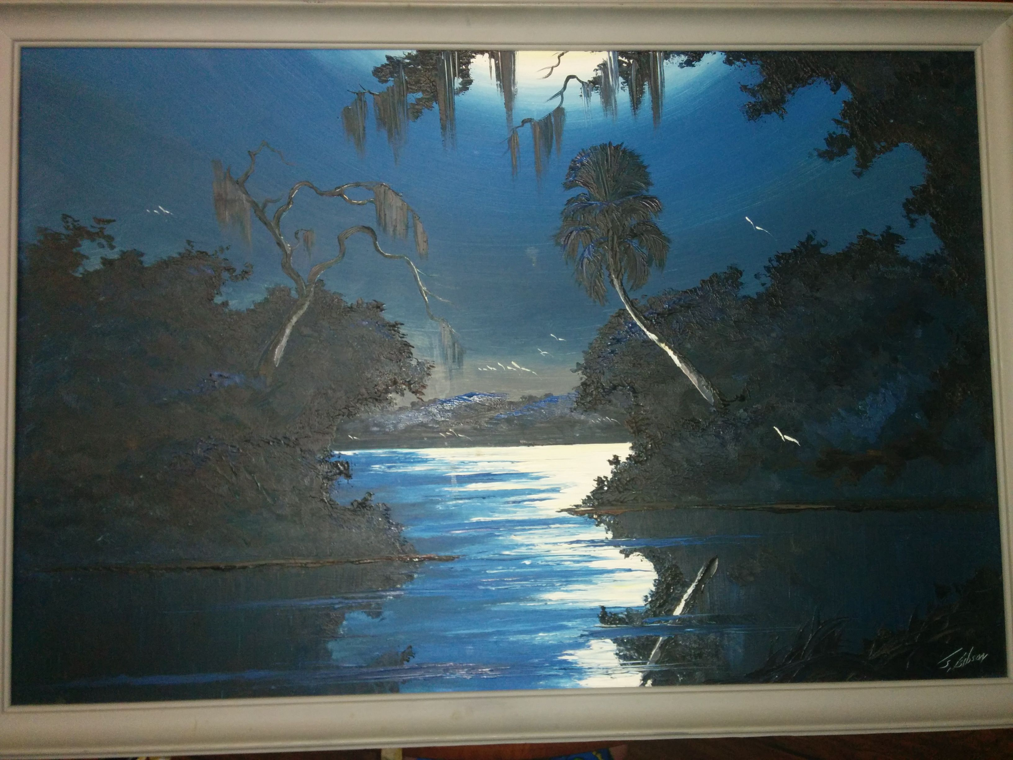 James Gibson, Florida Highwaymen member  Oil on Upson board
