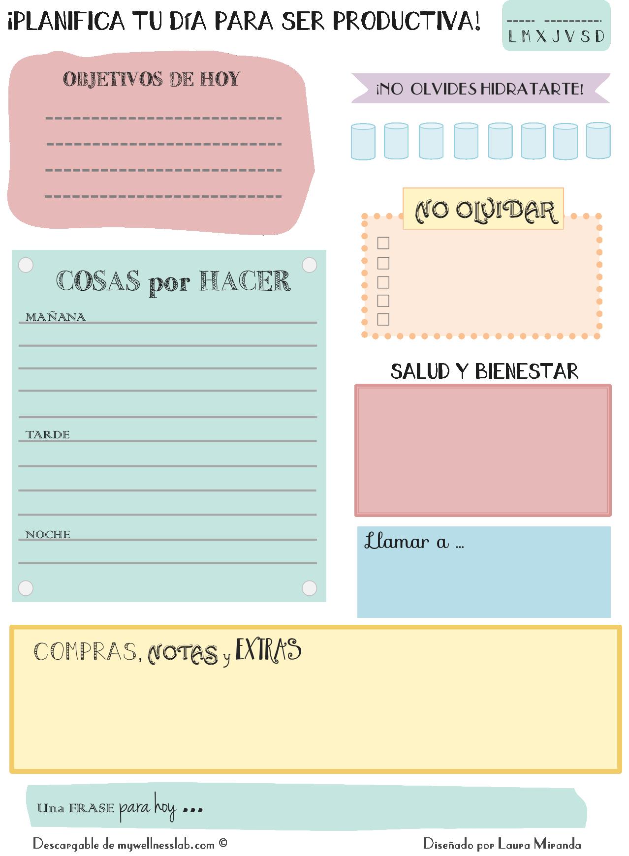 Planficador diario | Tareas del Hogar | Pinterest | Diario ...