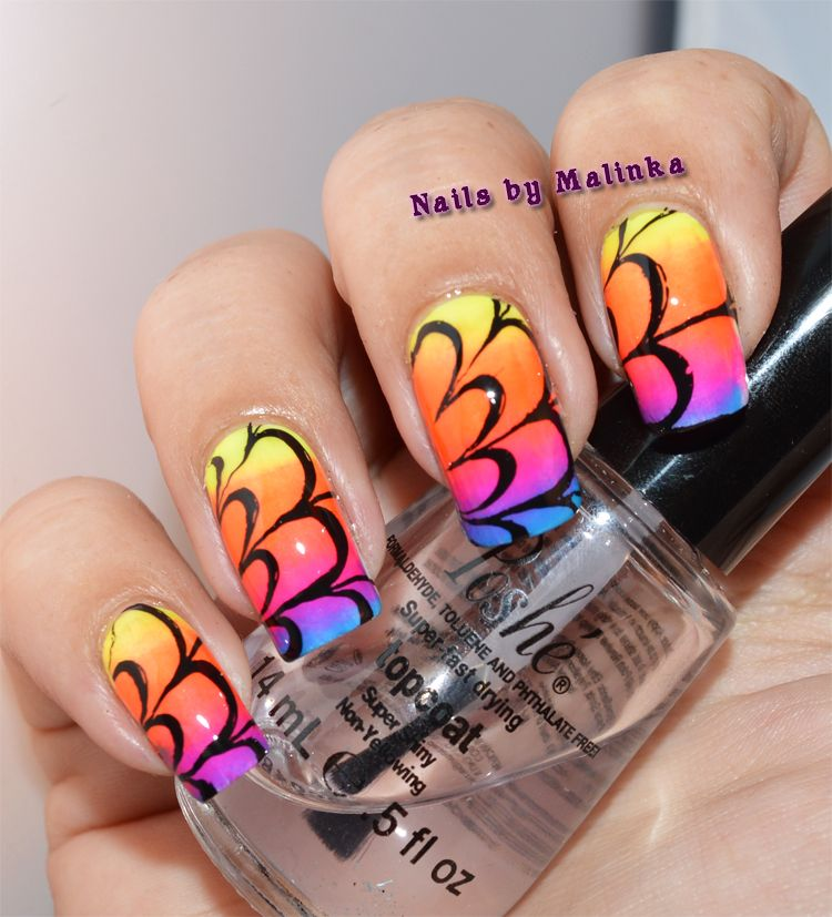 Nails by Malinka: Water marble plate L005