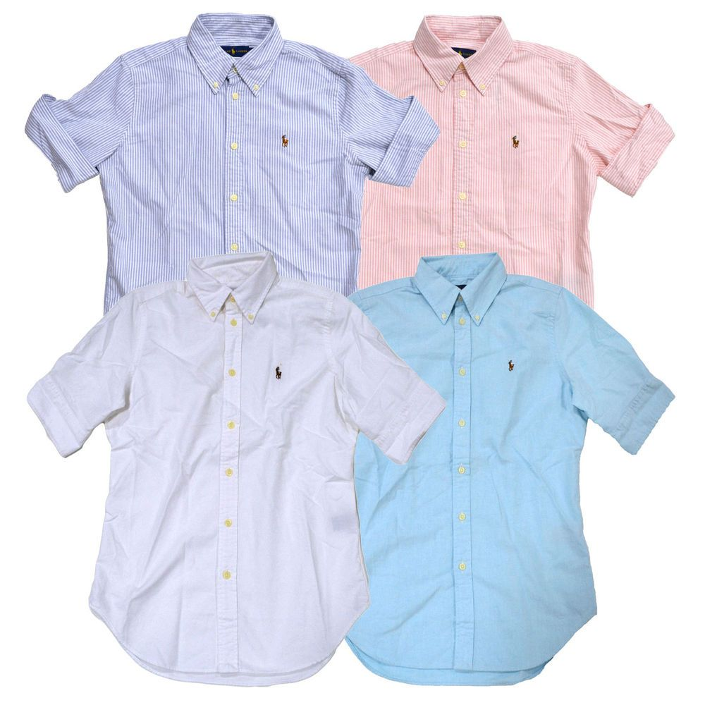 Polo Shirt Ralph Lauren Oxford Pony Down Button Short Womens Sleeve SzMUpLVGq