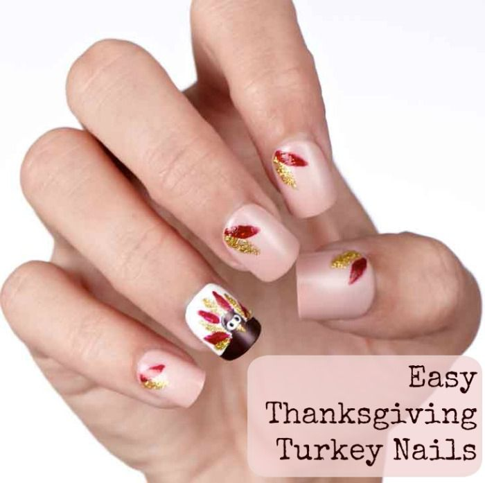An easy and simple DIY turkey and feathers nail art design that just ...