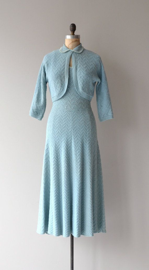 Something Blue Knit Dress Vintage 1950s Knit Dress Wool Etsy Vintage Dresses Blue Knit Dress Vintage Retro Clothing