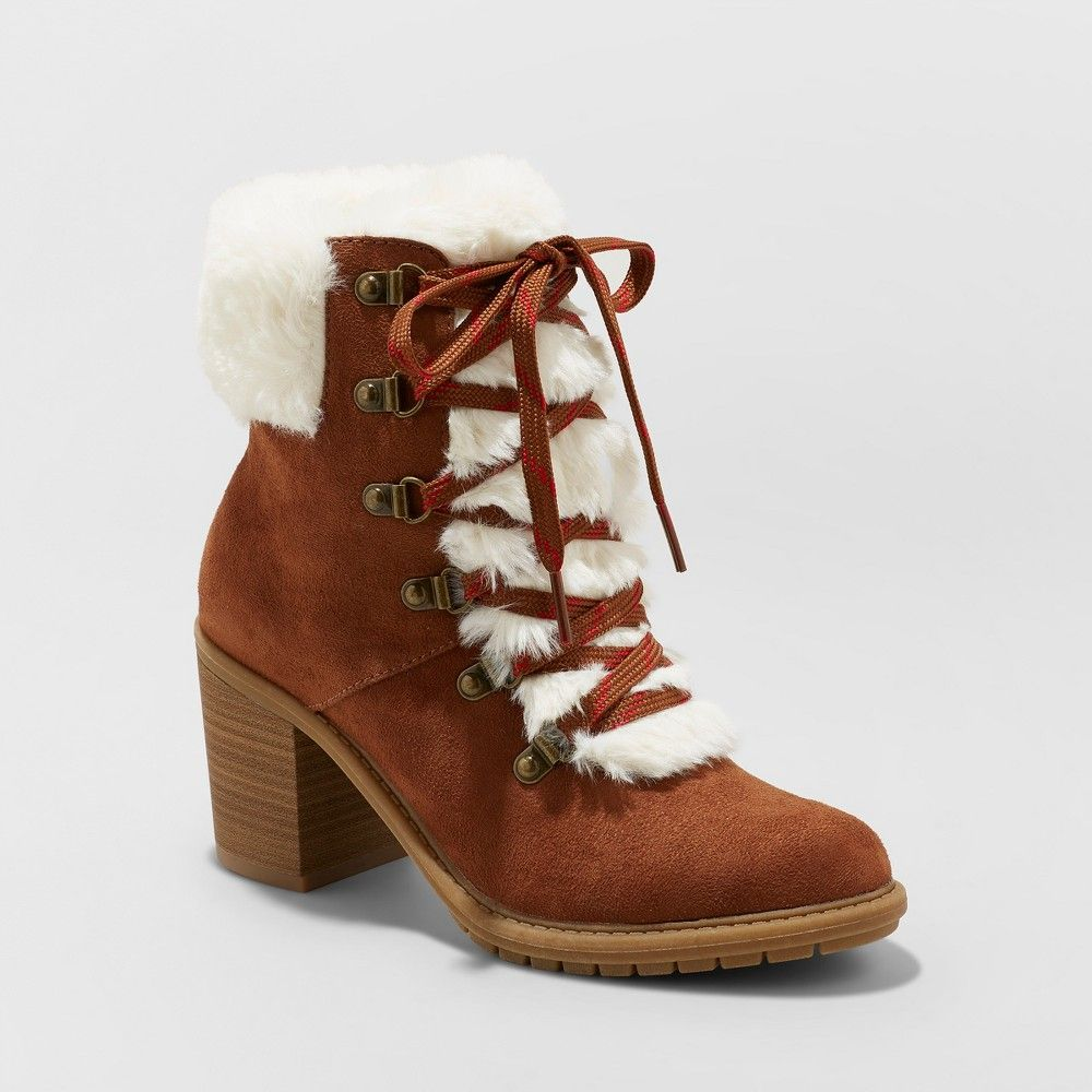 73e41cdc413 Women s Larina Faux Fur Heeled Boots - A New Day Chestnut (Brown) 6.5