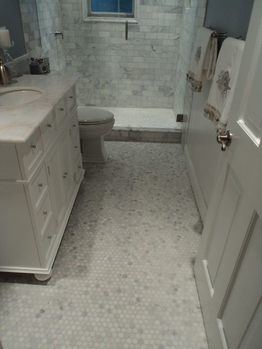 Coastal Guest Bathroom After Hexagon Carrara Marble