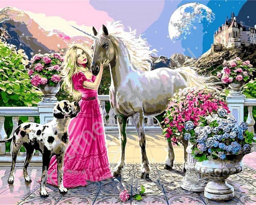 Единорог и принцесса, картина-раскраска по номерам на ...