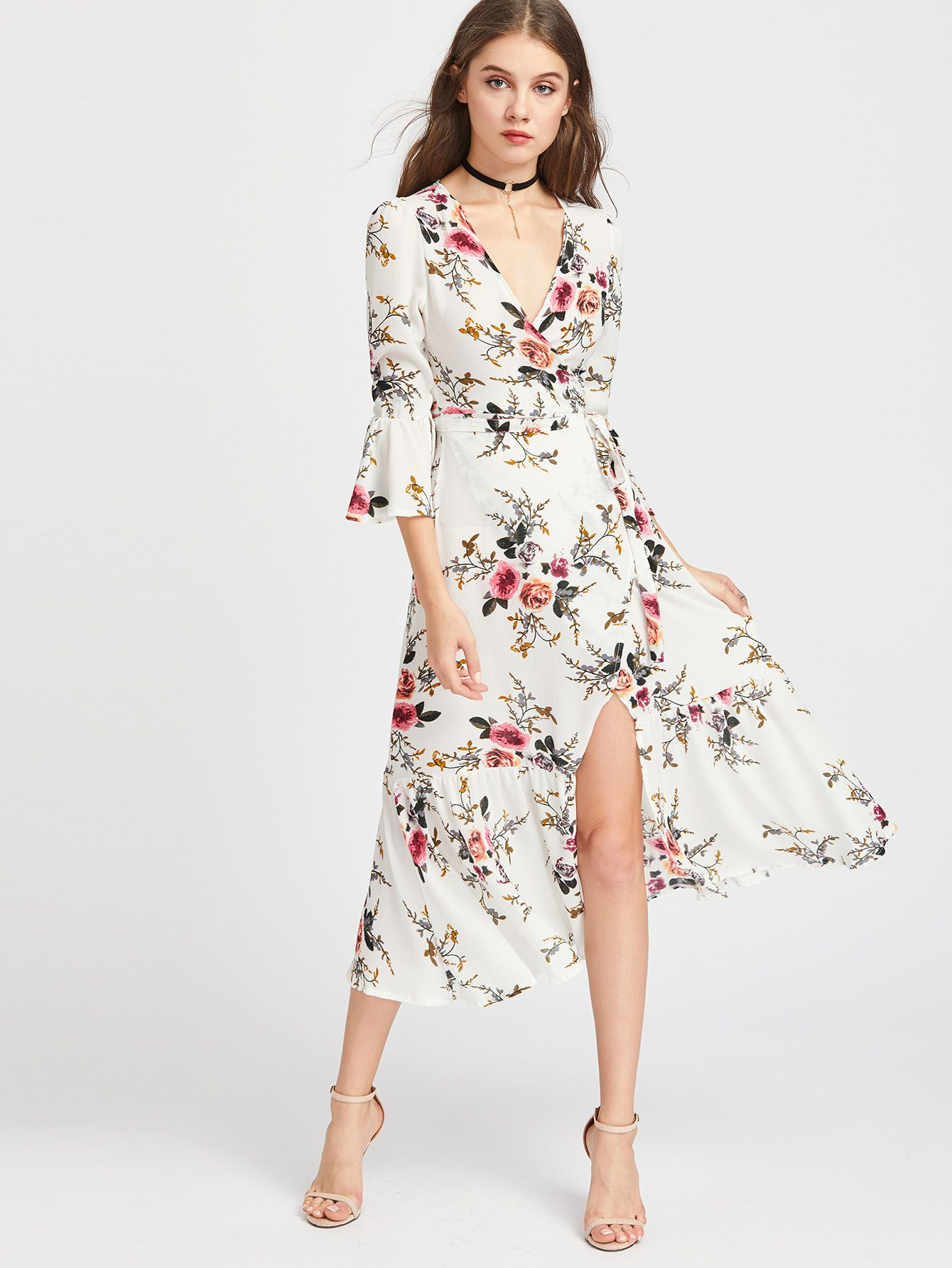 89c4bc18dc Shop Plunge Neck Floral Print Bell Sleeve Slit Side Dress online. SheIn  offers Plunge Neck Floral Print Bell Sleeve Slit Side Dress   more to fit  your ...
