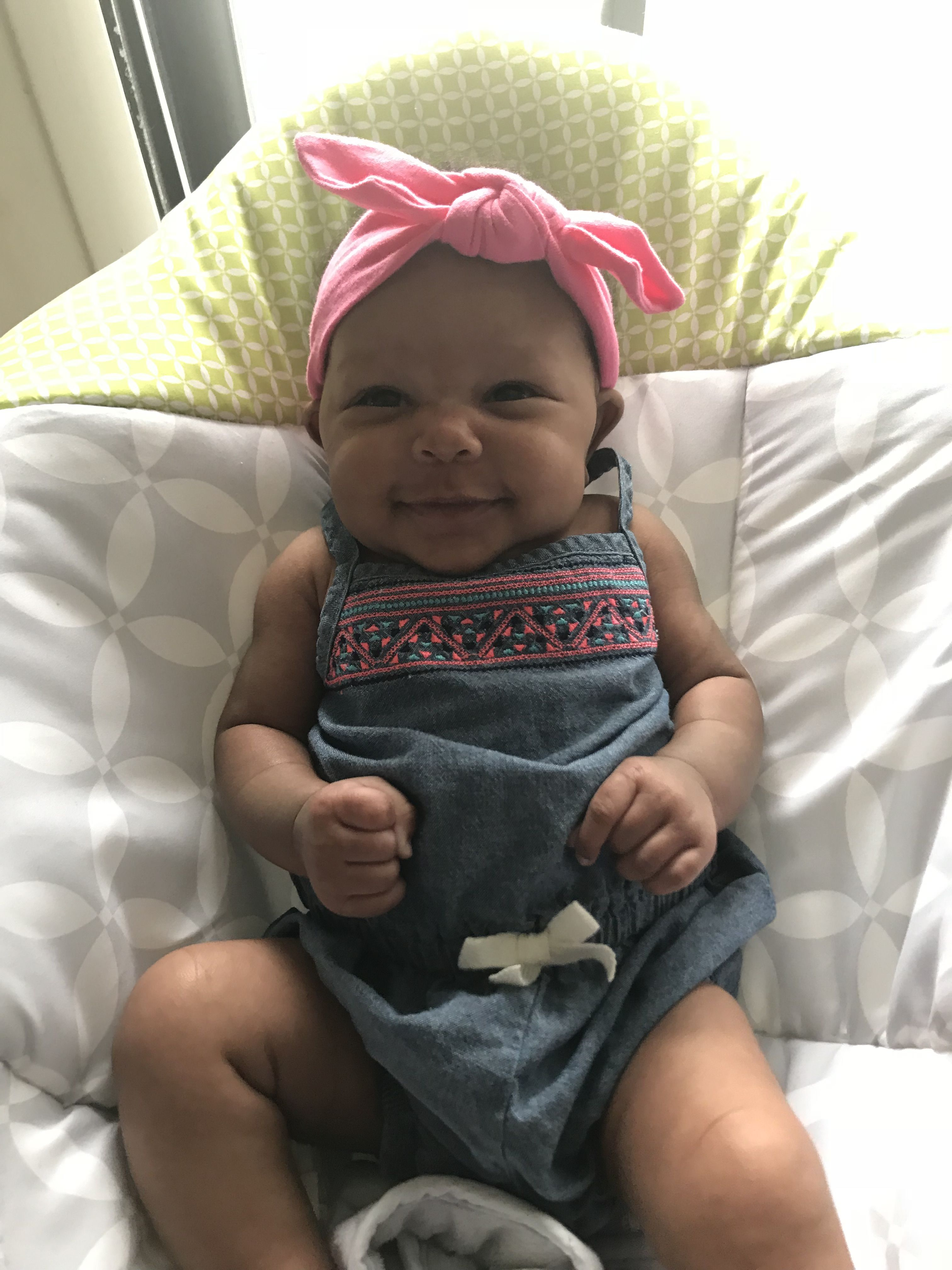 Happy baby, black girls rock, goddaughter, prettiest girl in the world, 2  months old, new born, new baby on the block, smiling baby, June babies