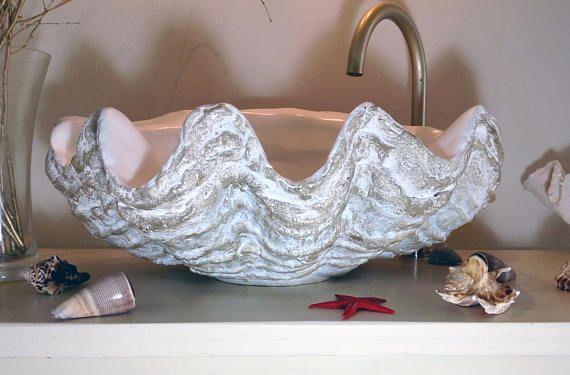 giant clam shell bathroom sink wash basin counter top dyi in 2019 rh pinterest com