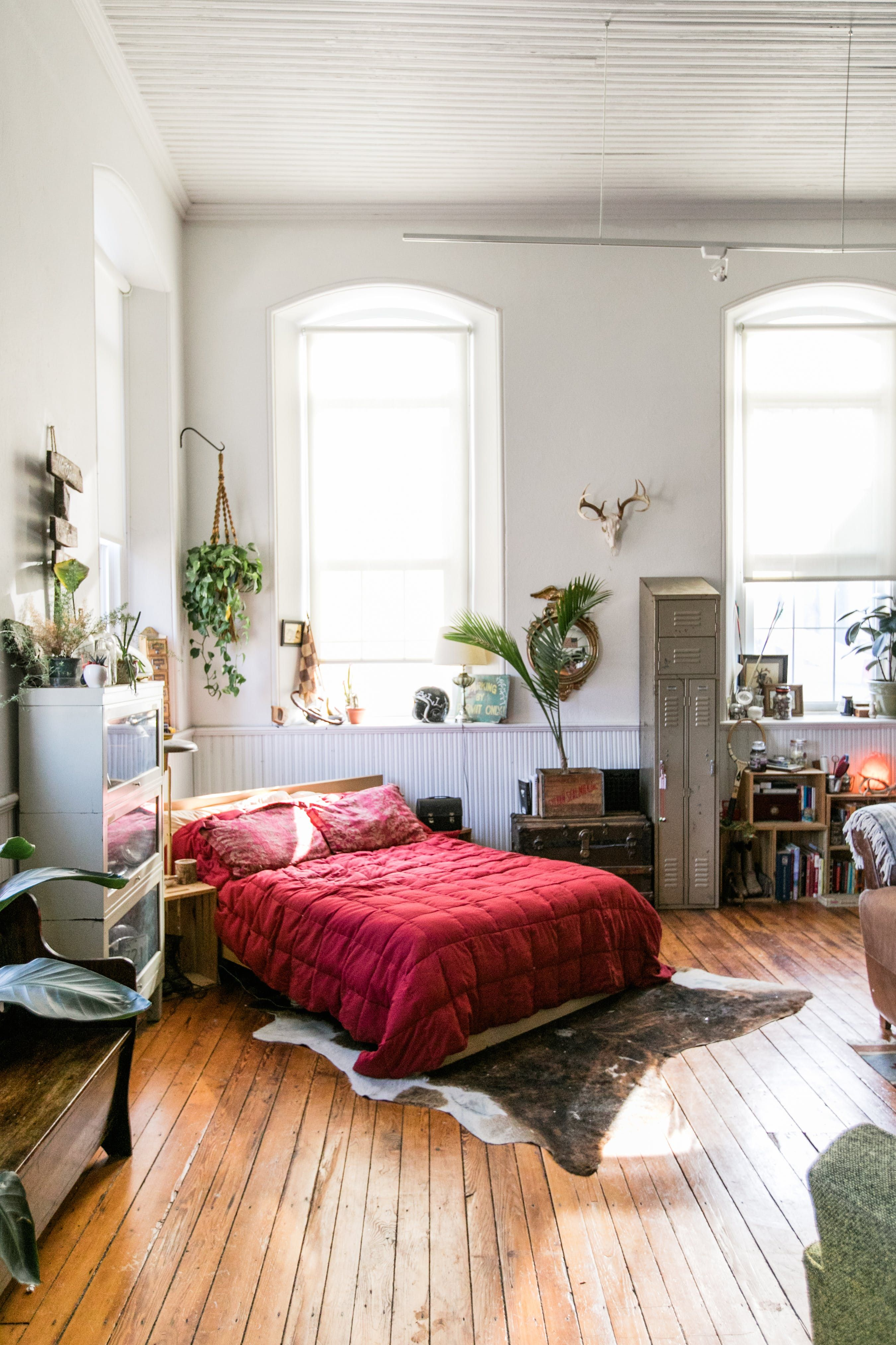 A Beautiful Vintage Filled Studio Apartment In A Former Church Cheap Bedroom Makeover First Apartment Decorating Bedroom Makeover