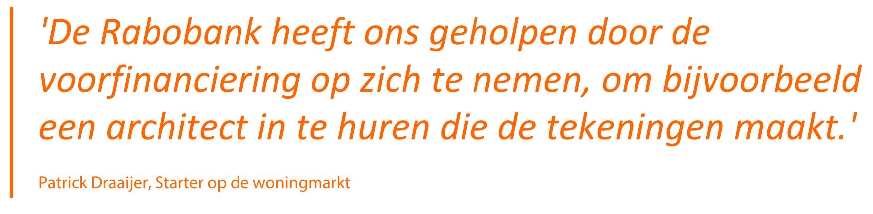 """""""De #Rabobank heeft ons geholpen door de voorfinanciering op zich te nemen, om bijvoorbeeld een #architect in te huren die de tekeningen maakt"""" #Plankostenfonds #Almere #aandeelinelkaar"""