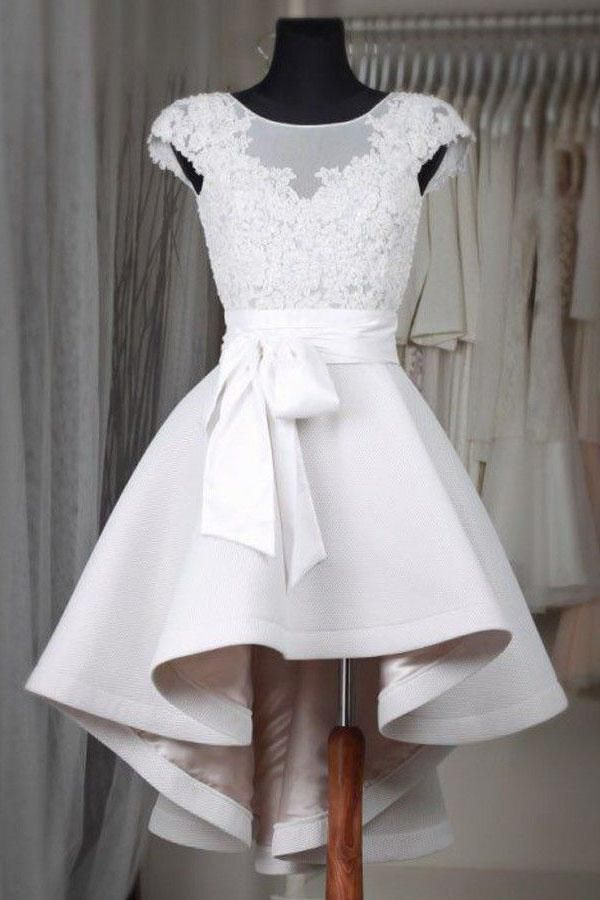 Photo of Simple white lace short prom dress High low homecoming dresses