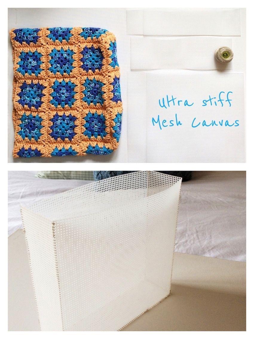 Brilliant idea to use plastic mesh to stiffen a crochet bag ...