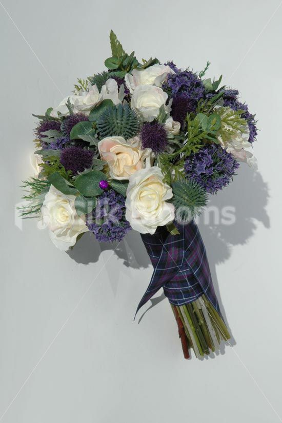 Artificial Scottish Bridal Wedding Bouquet With Roses Thistles And Foliage