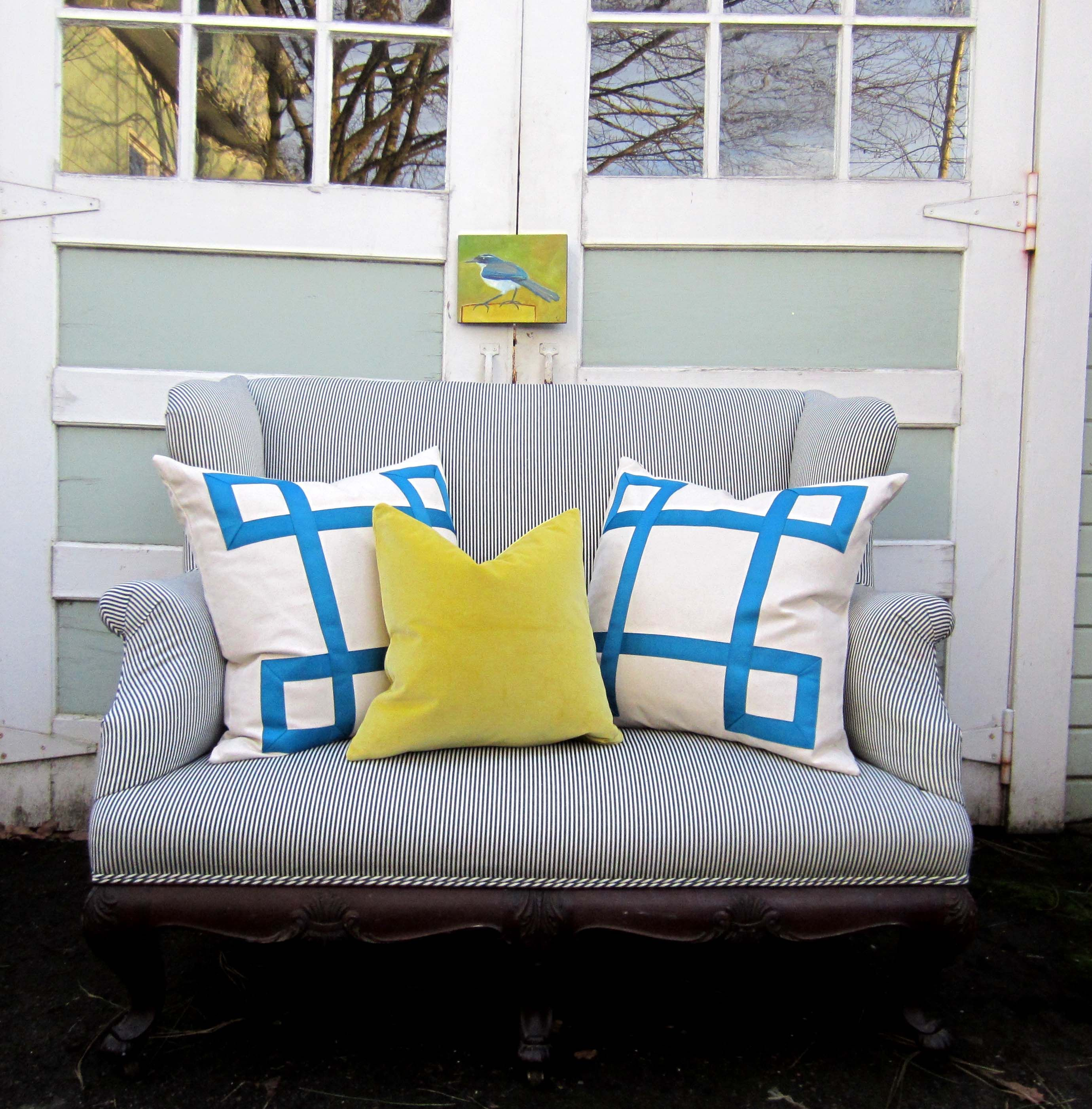 Shot outside studio tullia in pdx teal ribbon pillows on heirloom