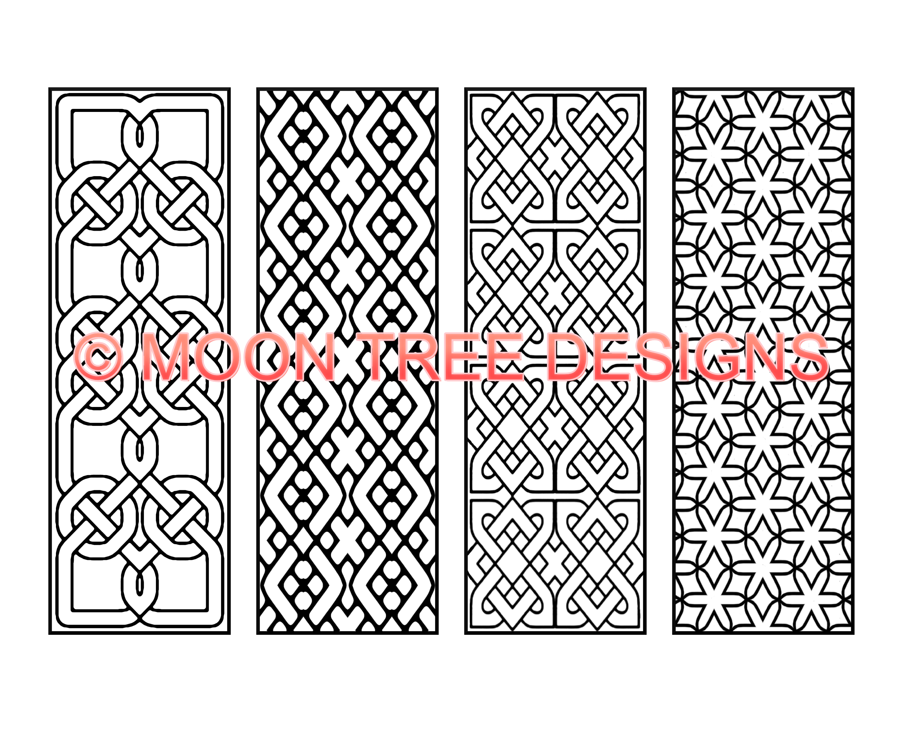 4 black and white bookmarks ready to buy, download and color. for