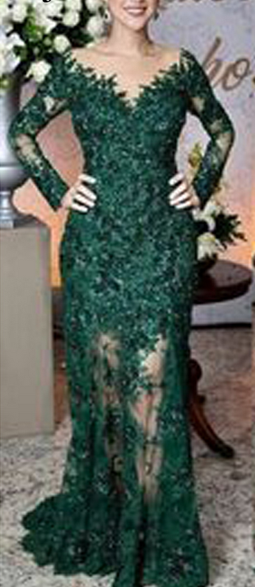 Green Prom Dresses, Lace Prom Dresses, Mermaid Evening Dresses, Long Sleeve Evening Gowns, Cheap Party Dresses, Vestidos De Fiesta, Lace Evening Dresses
