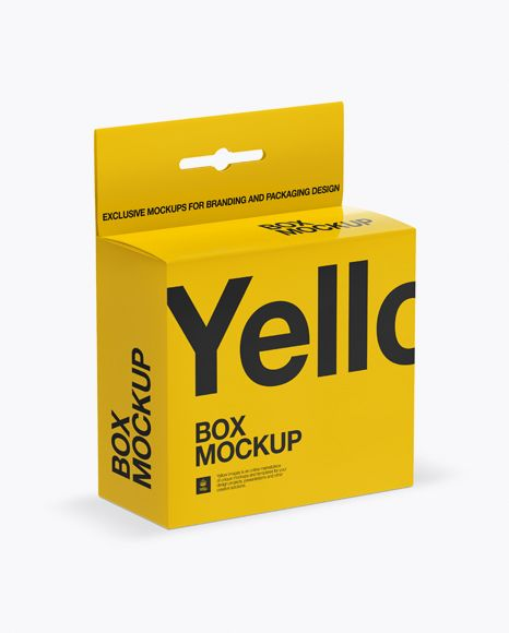 Download Glossy Paper Box With Hang Tab Mockup Half Side View High Angle Shot In Box Mockups On Yellow Images Object Mockups Mockup Free Psd Free Psd Mockups Templates Psd Mockup Template
