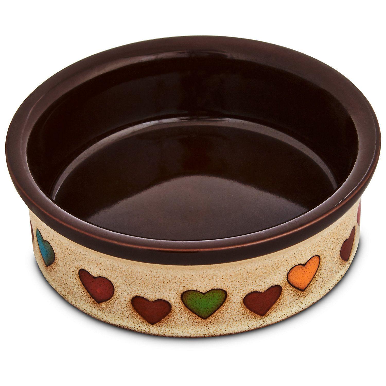 Harmony heart print brown ceramic dog bowl 1 cup