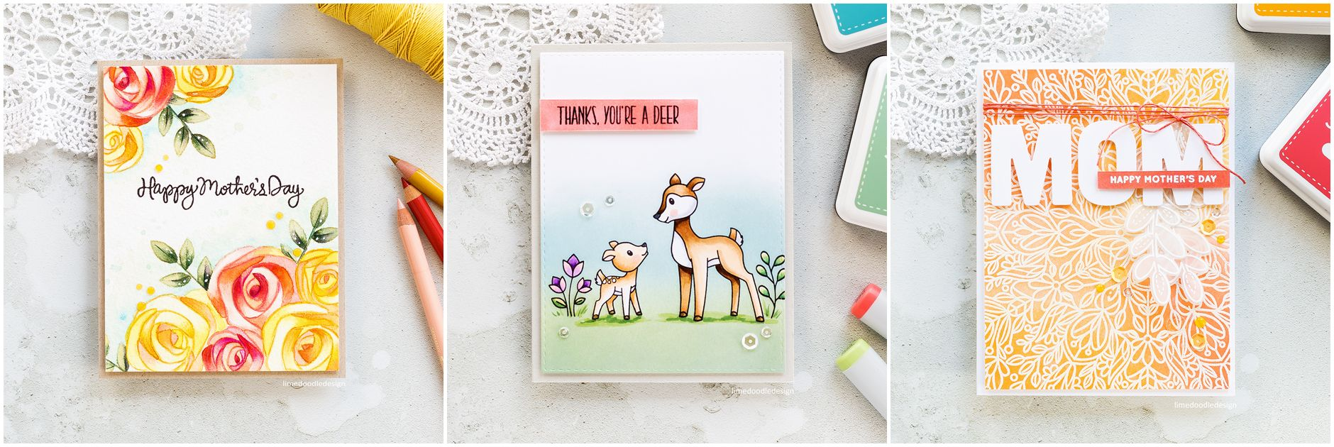 Three cards by Debby Hughes using the new Mothers Fathers Flowers release from Simon Says Stamp. Find out more by clicking on the following link: http://limedoodledesign.com/2017/04/mothers-fathers-flowers-sss-release-hop/