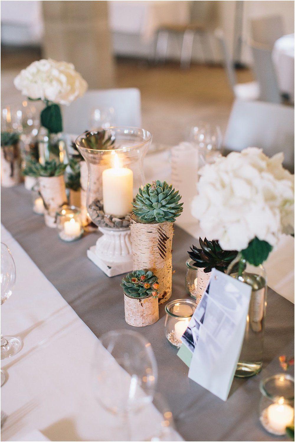 Tischdeko Mit Birke Und Sukkulenten Tisch Dekorieren Birke Hochzeit Sukkulenten