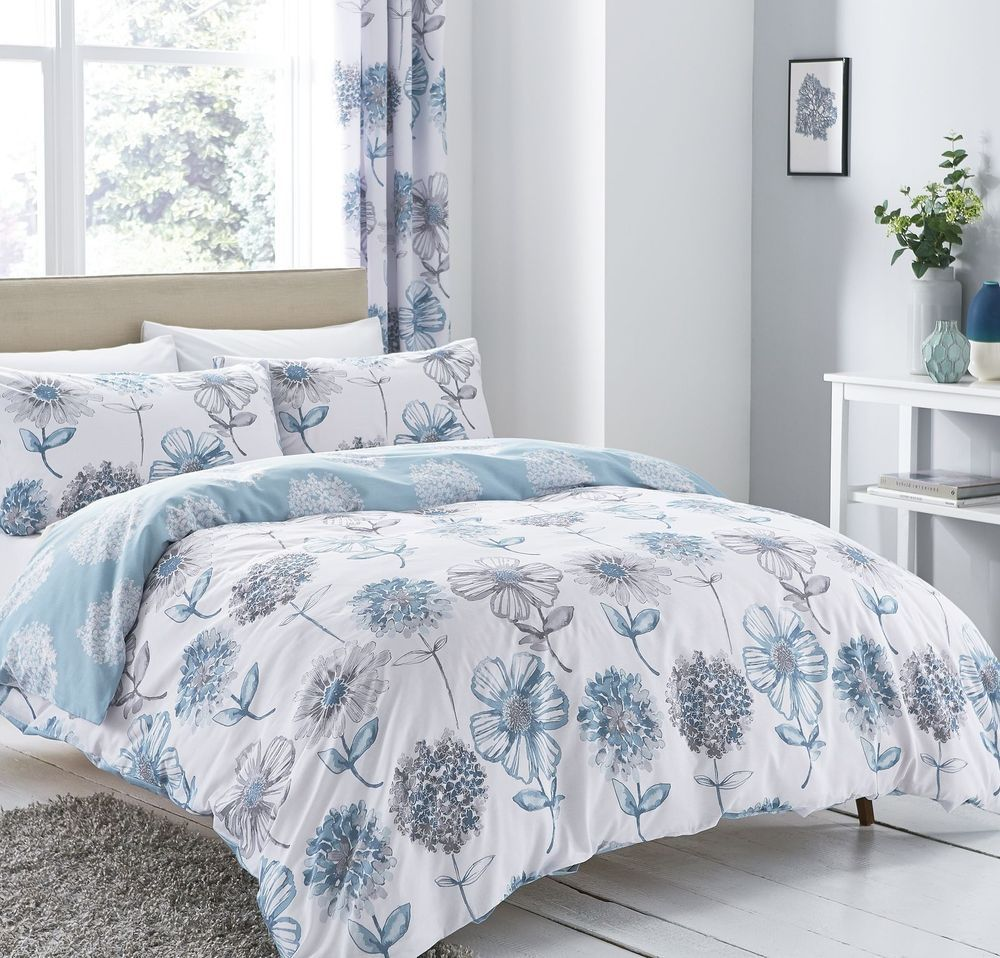 Catherine Lansfield Banbury Floral Blue Duvet Cover Set Single