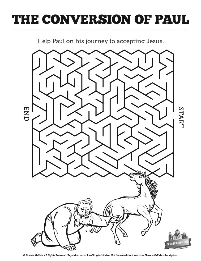 Acts 9 Paul's Conversion Bible Mazes: Can your kids find