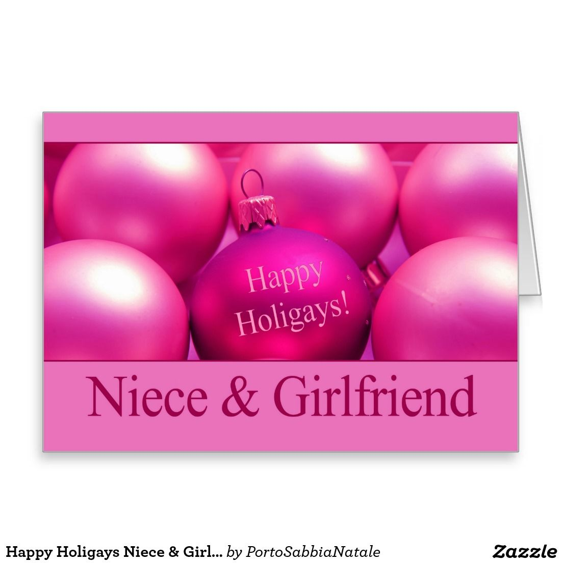 Happy Holigays Niece & Girlfriend Stationery Note Card