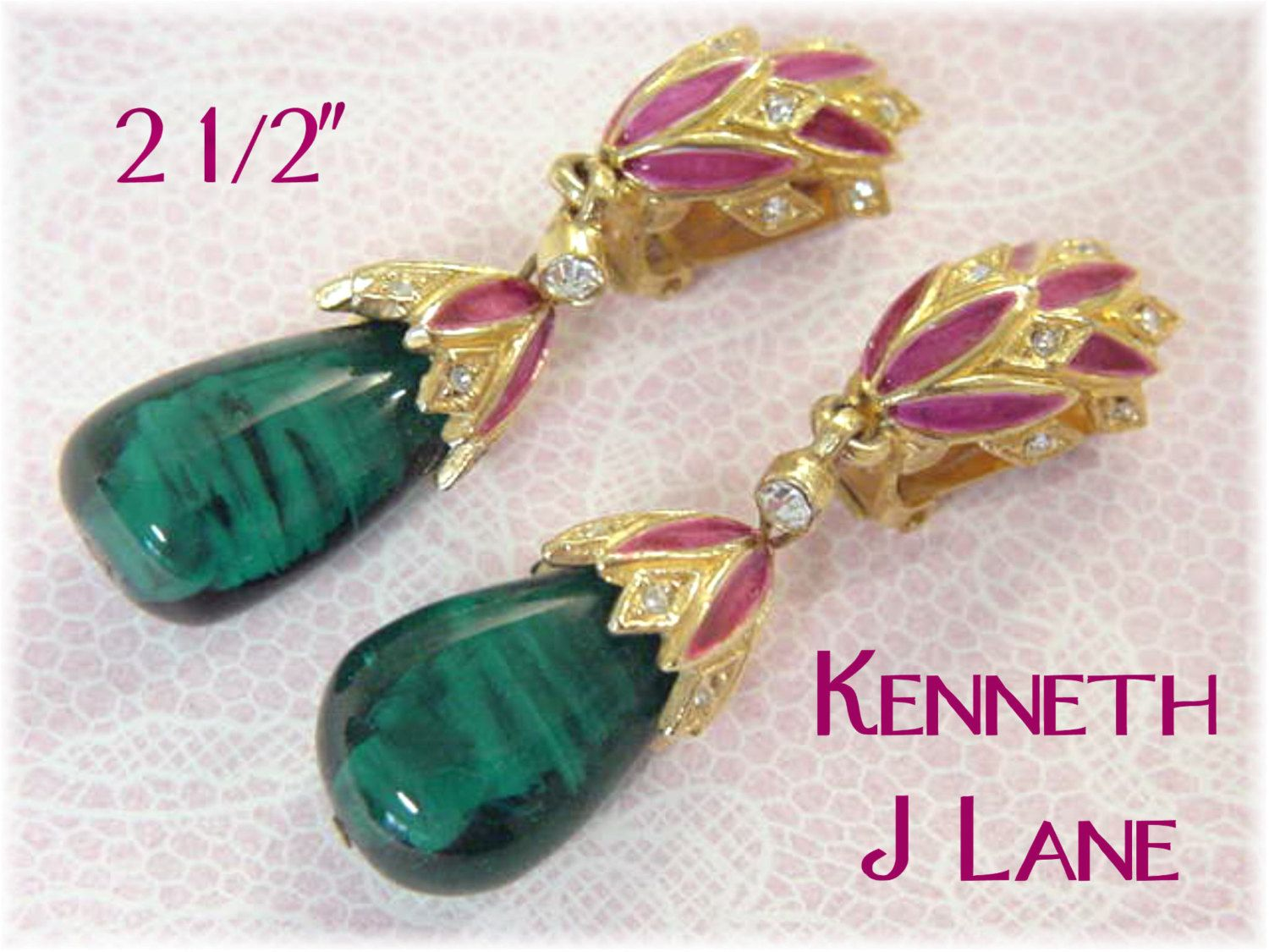 Kenneth Jay Lane K J L - Pink Lotus Flower Rhinestone Art Glass Earrings - Statement Jewellery Victorian - Chandelier Dangle - FREE SHIPPING