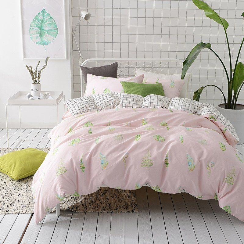 Blush Pink Yellow Blue And Lime Green Leaf Print Tropical Hawaiian Style Elegant Girly Girls 100 Cotton Twin Fu Bed Cover Sets Full Bedding Sets Bedding Sets
