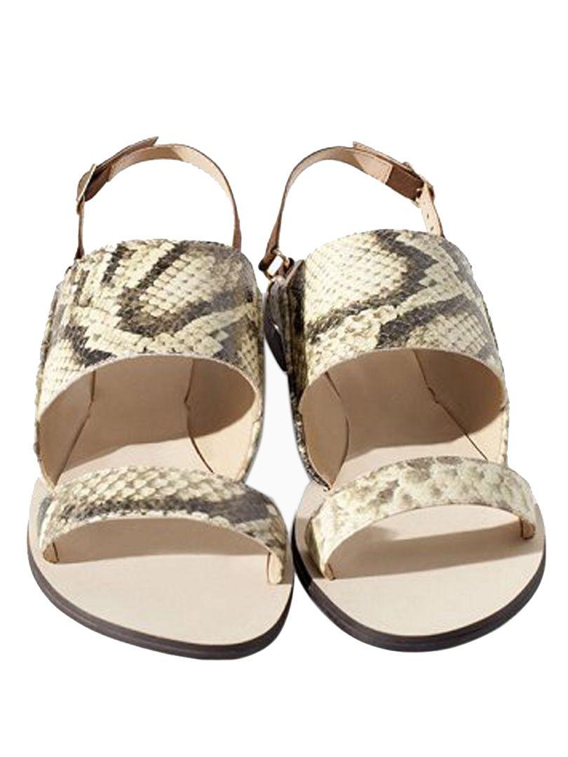 9c031ea6fe36 Snakeskin Double Strap Flat Sandals